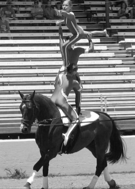 Freshman Yvonne Greenen competes in horse vaulting.