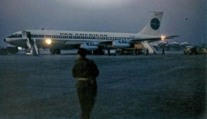 Donut Derelicts member Kent Emigh boarded the Paris to New York 707 Jet Clipper in October, 1958. The flight was one of the first cross-Atlantic flights that marked the beginning of the jet age. Courtesy Kent Emigh